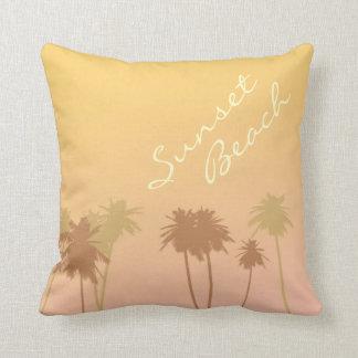 Sunset beach throw pillows