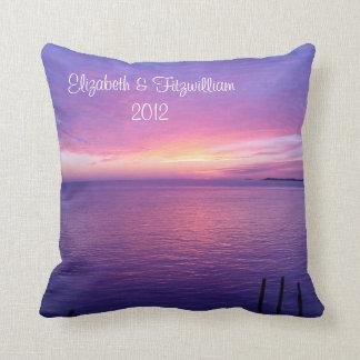 Sunset Beach Pillow Bride & Groom Wedding Throw Pillows