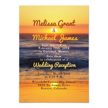 Beach Themed Sunset Beach Post Wedding Reception Only Invite