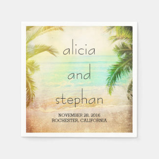 sunset beach romantic palms wedding napkin