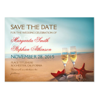 Sunset Beach Romantic Save the Date Cards