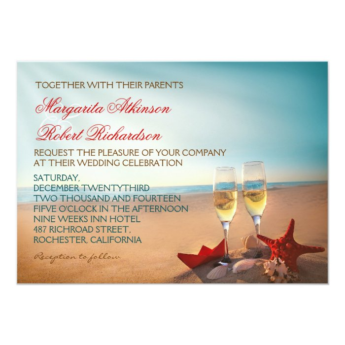 Romantic Wedding Invitation Wording: Sunset Beach Romantic Wedding Invitations