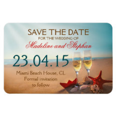 Sunset Beach Save The Date Magnets at Zazzle