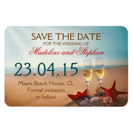 sunset beach save the date magnets
