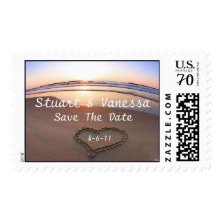 Sunset Beach Save The Date Wedding Postage