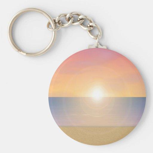 Sunset Beach Scene: Basic Round Button Keychain