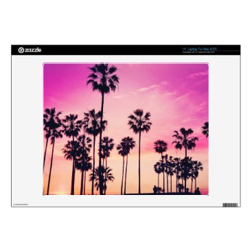 Beach Themed Sunset Beach Scene, Purple Tropical Sky Decals For Laptops