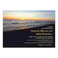 sunset beach sea wedding invitations