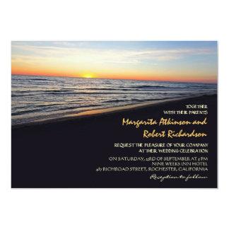 sunset beach sea wedding invitations