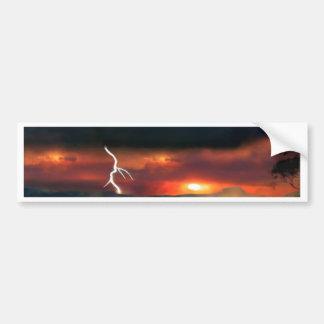 sunset beach storm lightning ocean water trees bumper sticker