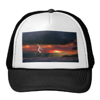 sunset beach storm lightning ocean water trees trucker hats