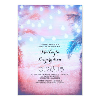 Sunset Beach & String Lights Bridal Shower 5x7 Paper Invitation Card