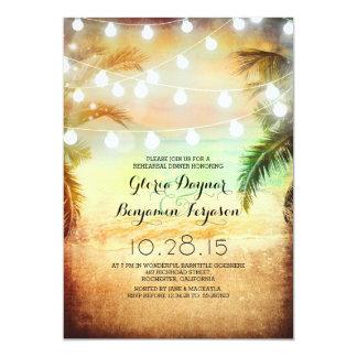 Sunset Beach & String Lights Rehearsal Dinner Card