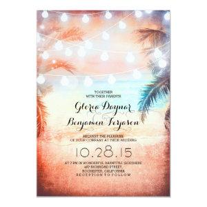 Sunset Beach & String Lights Wedding Invitation 5