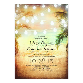 Sunset Beach & String Lights Wedding Invitation