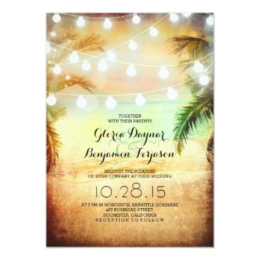 Beach Themed Sunset Beach & String Lights Wedding Invitation