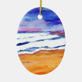 Sunset Beach Surf Ocean Waves Decor Gifts Art Ceramic Ornament