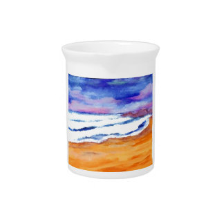 Sunset Beach Surf Ocean Waves Decor Gifts Art Drink Pitcher