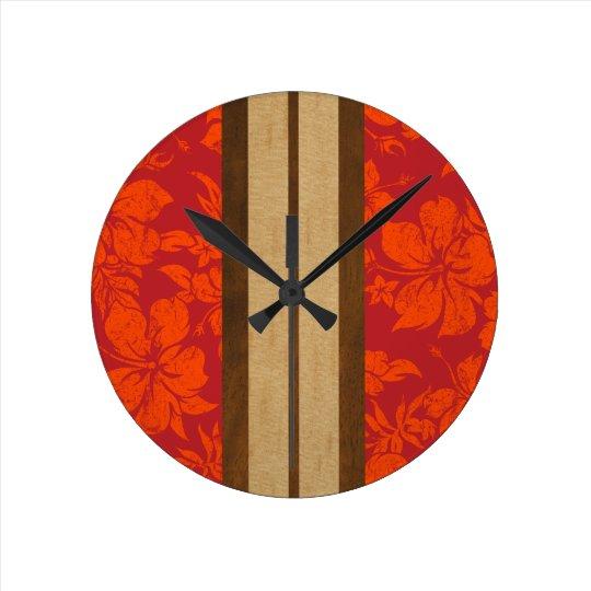 Sunset Beach Surfboard Hawaiian Wall Clocks