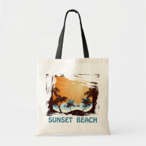 sunset, beach, hawaii, tropical, art, design, illustration, summer, nature, graphic, palm, wave, sunrise, landscape, colorful, tropics, Bag with custom graphic design