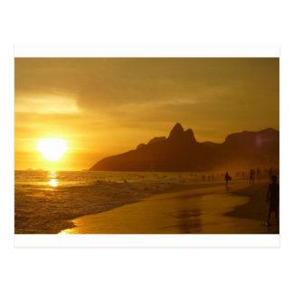Sunset Beach Tropical Ocean Water Peace Love Sand Postcard