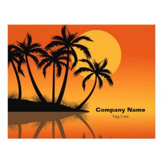 Sunset Beach Tropical Palm Trees Flyers