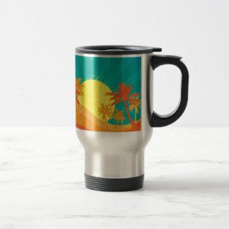 Sunset Beach tropical retro surf design Travel Mug