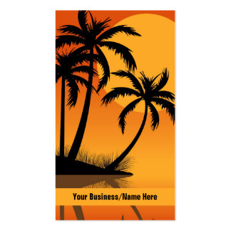 Sunset Beach Tropical Silhouette Palm Trees Business Card
