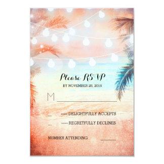sunset beach twinkle lights pink wedding RSVP Card