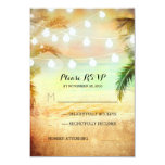 sunset beach twinkle lights tropical wedding RSVP 3.5x5 Paper Invitation Card