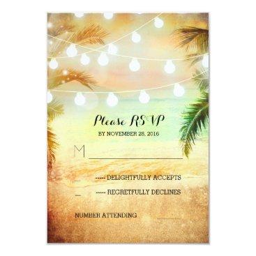 jinaiji sunset beach twinkle lights tropical wedding RSVP Card