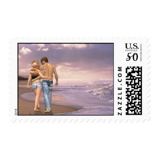 Sunset Beach Walking Couple, Valentine's Day Postage