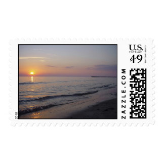 Sunset Beach Waves Postage Stamp