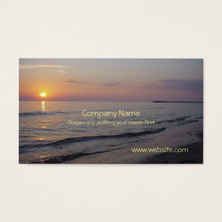 Sunset Beach Waves, Serene and Peaceful Coast Business Card