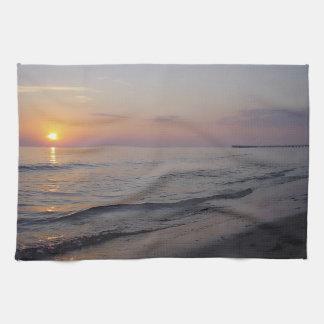 Sunset Beach Waves, Serene and Peaceful Coast Towel