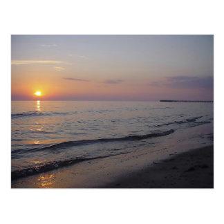 Sunset Beach Waves, Serene and Peaceful Coast Postcard