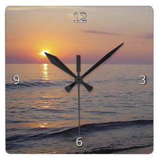 Sunset Beach Waves, Serene and Peaceful Coast Square Wall Clock