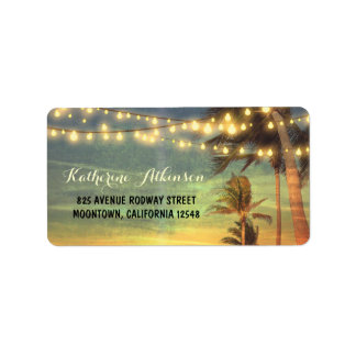 sunset beach wedding address labels