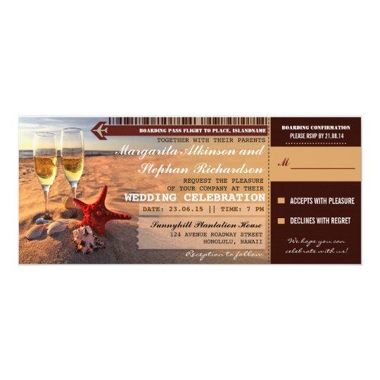 Sunset Beach Wedding Ideas: Sunset Beach Wedding Boarding Pass Invitations
