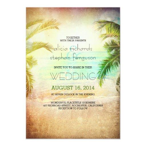 Sunset beach wedding invitations