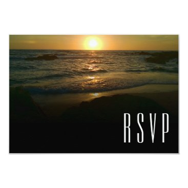 Beach Themed Sunset Beach Wedding RSVP Card