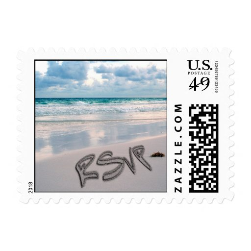 Sunset Beach Wedding RSVP Postage Stamp