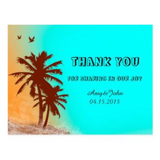Sunset beach wedding thank you notes beach2 postcard