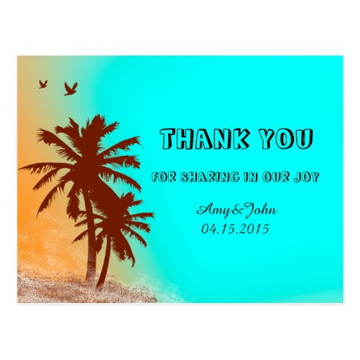 Sunset beach wedding thank you notes beach2 postcards
