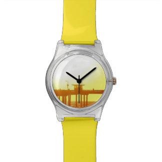 Sunset Behind a Pier Wrist Watches