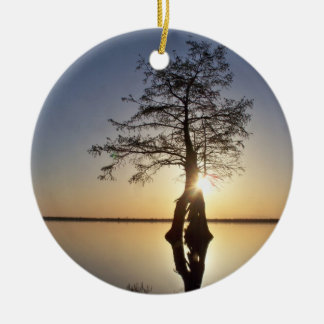 Sunset Behind a Tree Christmas Tree Ornaments