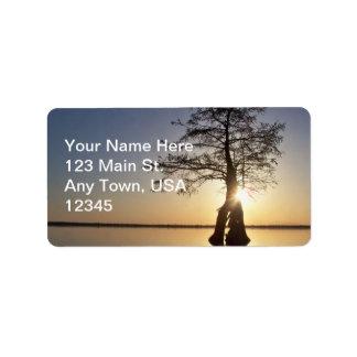 Sunset Behind a Tree Custom Address Label