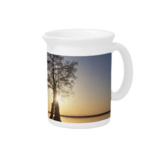 Sunset Behind a Tree Drink Pitcher