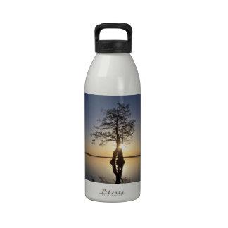 Sunset Behind a Tree Reusable Water Bottles