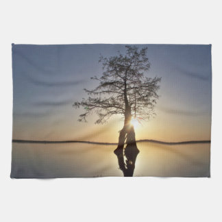 Sunset Behind a Tree Towels